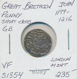 Great Britain King John Short Cross Penny 6b 1199-1216 S1354 London Mint Vf