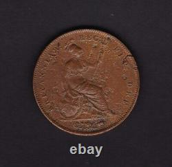Great Britain UK Penny Victoria Coin 1849 with lamination peel error