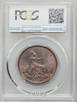 Great Britain Victoria 1863 1 Penny Coin, Uncirculated, Certified Pcgs Ms65-rb