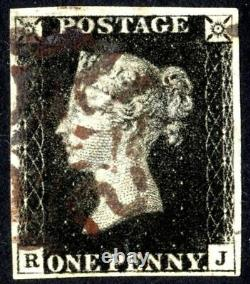 Großbritannien Nr. 1 gestempelt R-J One Penny Black vollrandig, erste Briefm