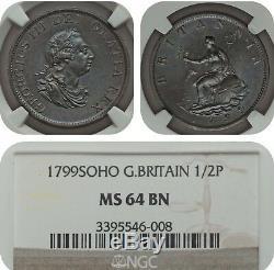 Half Penny 1799 Soho Ngc Ms 64 Bn Great Britain 1/2p