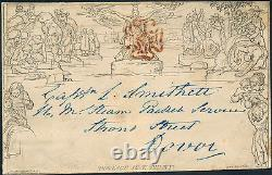 MULREADY ENVELOPE ONE PENNY BLACK PLATE A150 1840 With RED MALTRESE CROSS HV3685