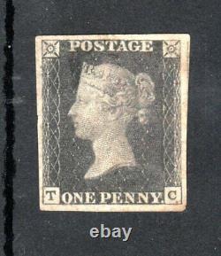 NICE COPY VICTORIA 1840 1d PENNY BLACK WITH 4 MARGINS