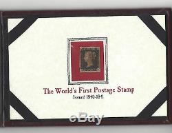 One Penny Black. Worlds First postage stamp issued 1840-41. Red Cancellation