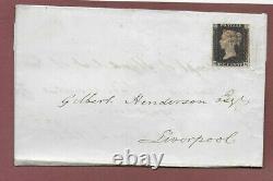 Penny Black DE stamp QV 1d on wrapper, 3+ Margins, Red Maltese cross, Great piece