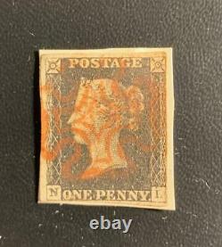 QV 1840 Penny Black Pl4 N-L on piece / Light Red MX / 4 Margins