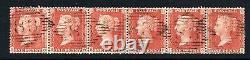 QV 1855 LC perf 14 penny red star Sg C6 plate 7 Scarce strip of 6 Irish 83 pmk