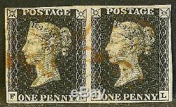 QV sg2 1d penny black pair (FK-FL) plate 6 Fine