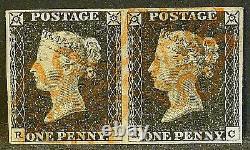 QV sg2 1d penny black pair (RB-RC) plate 2 Fine