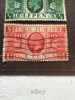 RARE George V Silver Jubilee Stamps 1910 1935 red one penny green half penny