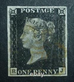 Rare Penny Black with yellow (Horsham) MX 4 margin plate 1b (RJ) see details