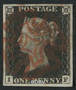 SG2 1d Black IF Plate 3 With 4 Good Margins Fine Full Red MX. Penny Black