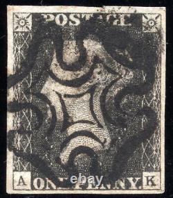 SG3 1d Penny Grey-Black 4 Margins Plate 5 Maltese Cross & Certificate AS26