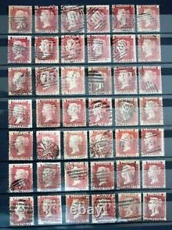 SG43 1d Penny Red Used (VGU/FU) Stamp Plates 71-224 (excl. 77)