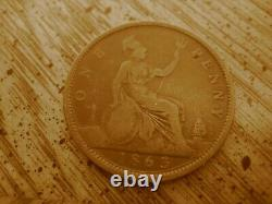 Very Rare Open 3 1863 Victoria Penny from Great Britain, only 7 known! BP1863B