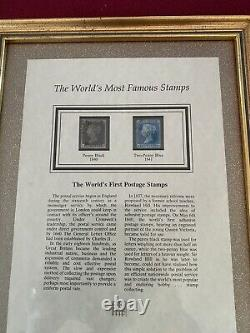 Worlds Most Famous Stamps Genuine Penny Black 1840 Two Penny Blue 1841 Framed