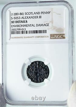 1280 86 Grande-bretagne Ecosse Royaume-uni Roi Alexander III Old Penny Coin Ngc I87147