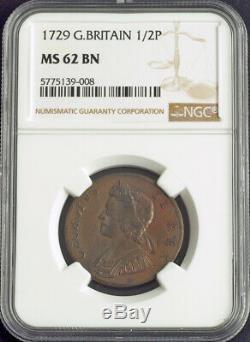 1729, La Grande-bretagne, George Ii. Superbe Copper Penny Coin. Pop 1/8. Ngc Ms62