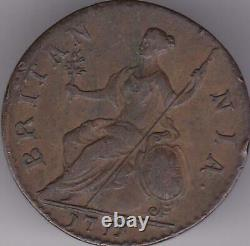 1771 Grande-bretagne George III Halfpenny Us Colonial Coin Cuivre 1/2 Penny