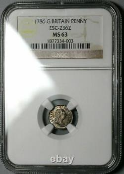 1786 Mbac Ms 63 George III Penny Great Britain Silver Mint Coin (20100201d)