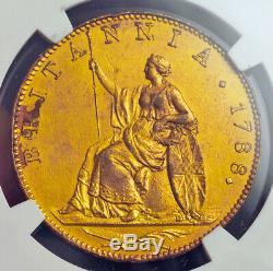 1788, La Grande-bretagne, George Iii. Preuve Gilt Motif Cuivre ½ Penny Coin. Ngc Au +