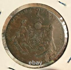 1790 Grande-bretagne 1/2 Penny Prince Du Pays De Galles Élu Grand Master Mason Estate