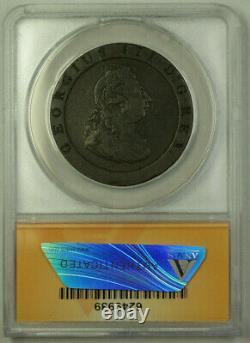 1797 Grande-bretagne 1 Penny Coin King George III Anacs Vf 20