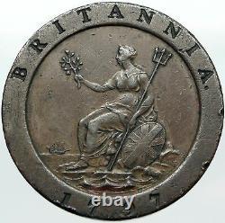 1797 Royaume-uni Grande-bretagne Royaume-uni King George III Véritable Penny Coin I88420