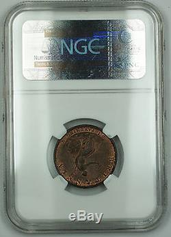 1799 Grande-bretagne 1/4 Penny Farthing Copper Coin George III Red Brown Ms-63 Akr