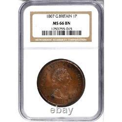 1807 Grande-bretagne 1 Penny, Ngc Ms 66, S-3780, Km-663, Rare En Grade