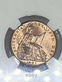 1825 Grande-bretagne 1/4 P Pence Farthing Copper Coin Ms-65-rd Very Rare