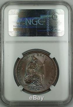 1826 Grande-bretagne Penny Coin George IV Ngc Ms-64 Brown Bn Éclat Akr
