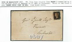 1840 1d Black Four Margins Plate 2 Margate Croix-rouge Maltaise 1841 Sarre Penny P