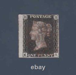 1840 1d Black Penny Black Plate 9 Ka Red MX Very Light MX MC 4 Margin Fine