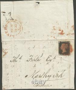 1840 Aug Penny Black On Cover P7 Da Sent De Liverpool À Northwich