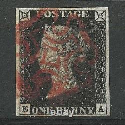 1840 GB Qv Queen Victoria 1d Penny Black Stamp Plate 8'ea' Utilisé 4 Margins
