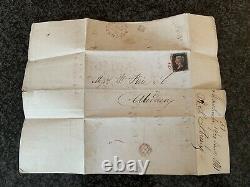 1840 Genuine Penny Black Sur La Couverture Originale Avec La Croix-rouge Maltaise