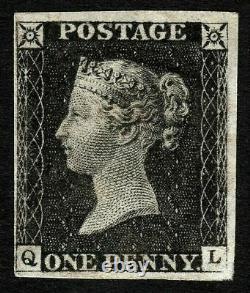 1840 Go Qv 1d Penny Black Sg2 Plate 1b. Mint Monté, Position (ql) Cat £16000