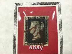 1840 Grande-bretagne # 1 Penny Noir Dans Une Ligne De Dossier D'affichage À Travers D-g
