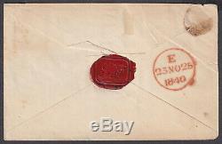 1840 Penny 1d Noir Sur La Couverture Pl. 1b Réentrée 4 Bonnes Marges Super Sealmx Rouges