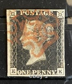 1840 Penny Black 1d Black Red MX Plate 5 4 Marges Lettrage Ek