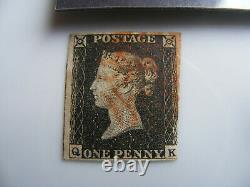 1840 Penny Black 3.1/2 Marges Annulées Avec Croix Rouge Maltese Fine Used