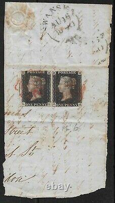 1840 Penny Black Pair (gg&gh) Sur Grande Pièce (couverture) Swansea Au 16th 1840
