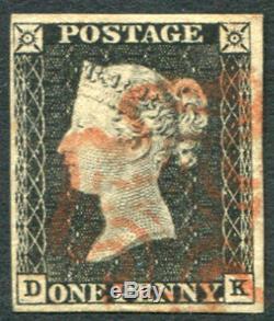 1840 Penny Black Plate 1a Dk, Croix De Malte Rouge