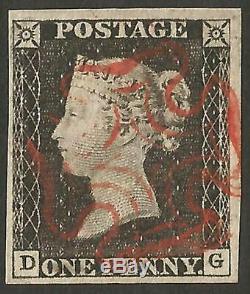 1840 Penny Black Plate 1d 1a 4 Marges Croix-rouge Maltaise Superbe Occasion Aucun Défaut