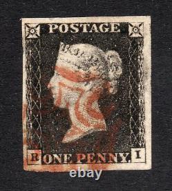 1840 Penny Black Sg 2 Plate 4 (r I) 1d Noir Avec Croix De Maltase Rouge Pmk
