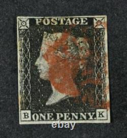1840 Penny Black Un Exemple Frais De 4 Marges Avec Une Croix Maltaise En Rouge