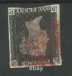 1840 Penny Black (hb) Plaque 1b Avec Filigrane Inversé Près De 4 Marges C. £2500