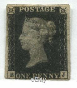 1840 Penny Noir Position Bk Menthe Avec Une Partie De La Gomme 4 Près De Grandes Marges