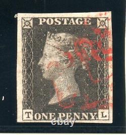 1840 Penny Noir Sg 2 Plaque 6 (t L) 1d Noir Rouge Clair M X & 4 Grandes Marges